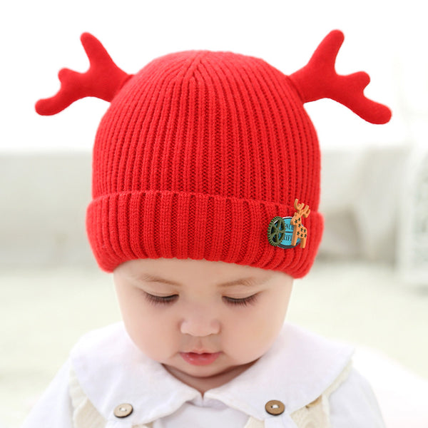 Winter Cartoon Pattern Antlers Knitting Hat