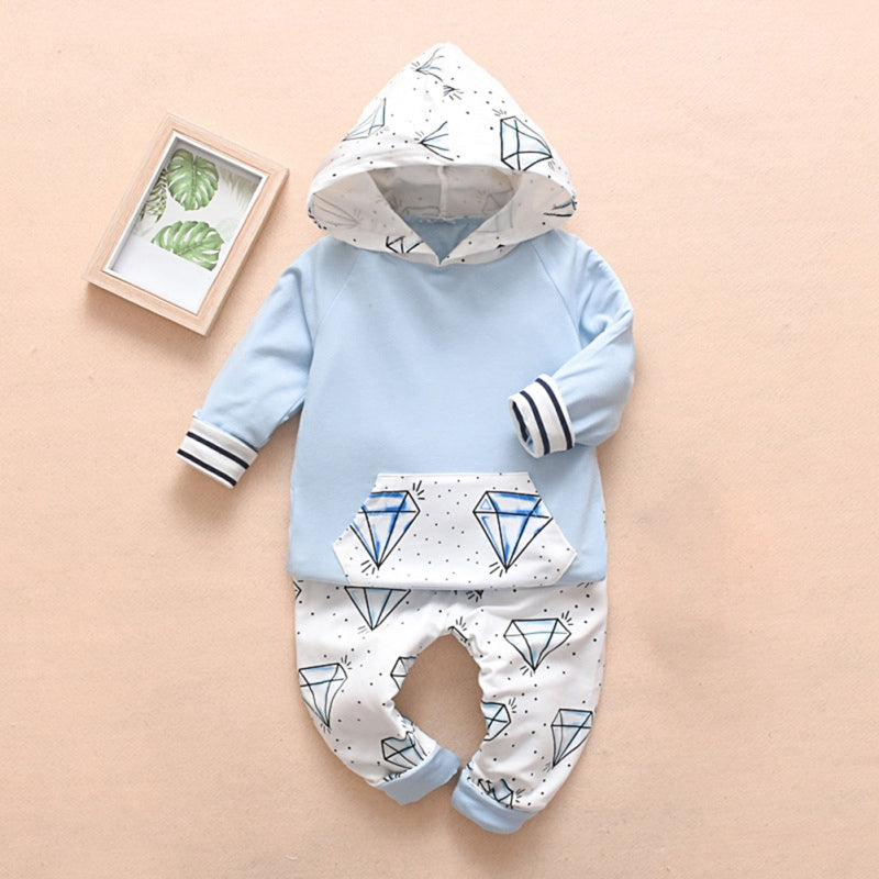 Baby Diamond Print Hoodie Top and Pants Set
