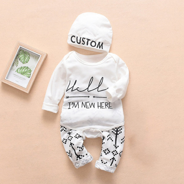 Baby Letter Print Bodysuit and Pants with Hat Set