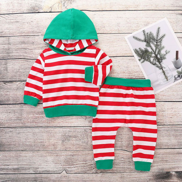 Kids Christmas Style Striped Hoodies and Pants Set