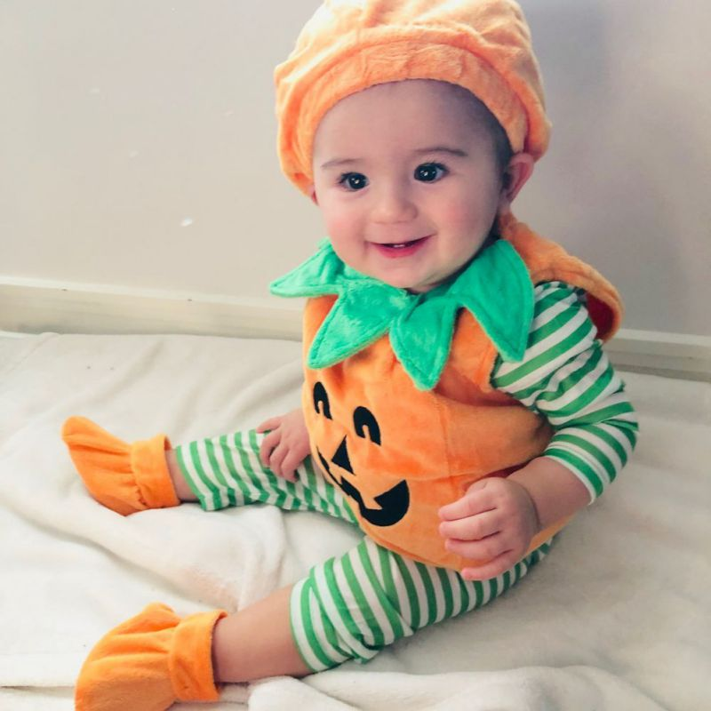 Baby Halloween Pumpkin Rompers and Hat with Shoes Set