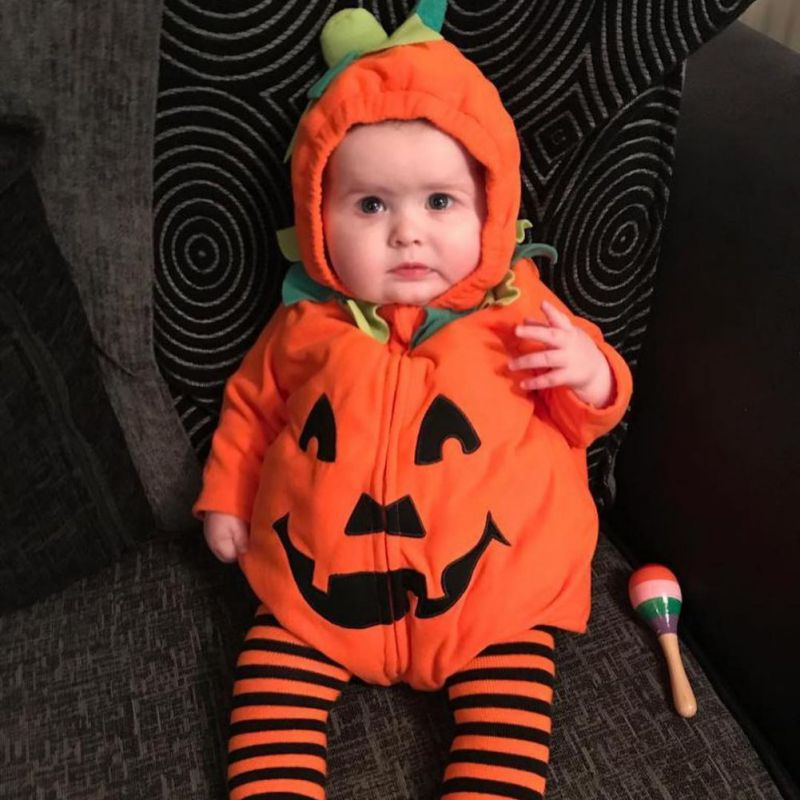 Baby Halloween Pumpkin Zip-on Hoodie Rompers