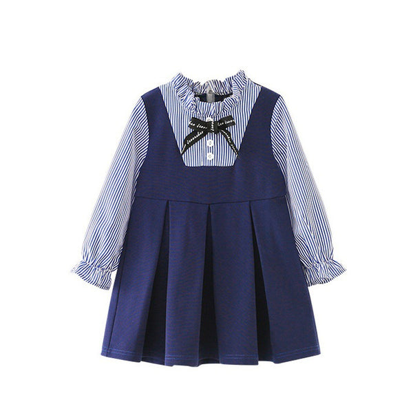 Girls Cute Striped Bow Long-Sleeved Autumn Dress