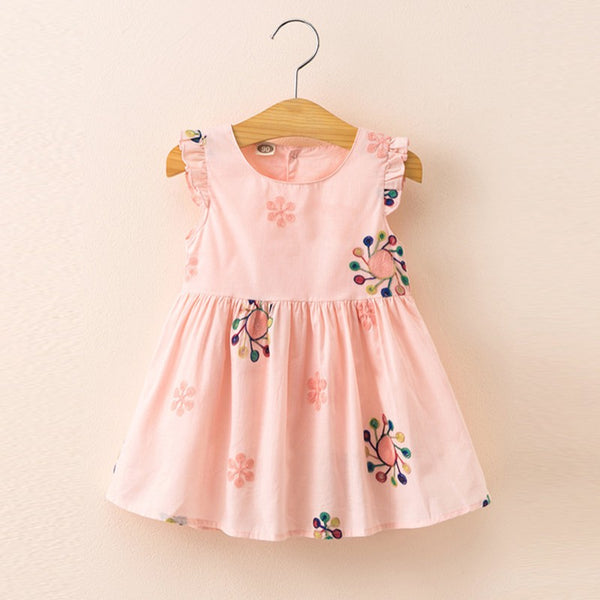 Girls Summer Sweet Embroidered Flutter-sleeve Dress