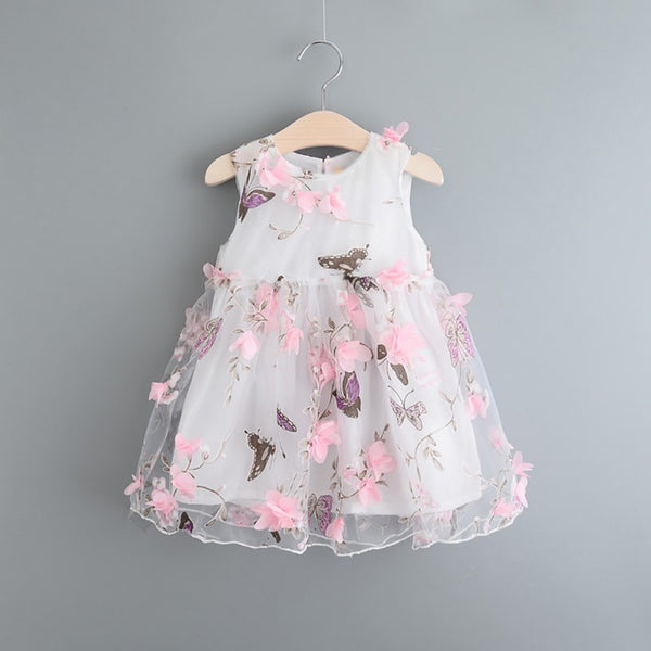 Girls 3D Butterfly and Flower Sleeveless Dress