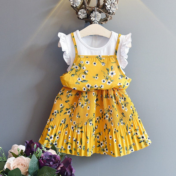 Girls Summer Yellow Floral Casual Dress