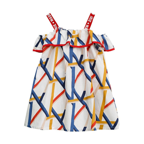 Girls Stylish Geometric Patterns Shoulder Dress