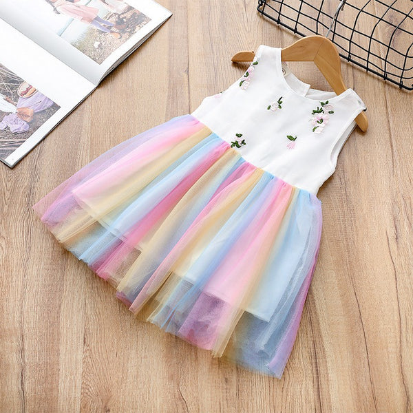 Girls Rainbow and Flower Summer Sleeveless Dress