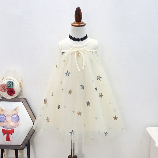 Girls Sweet Little Star Tulle Lace Dress