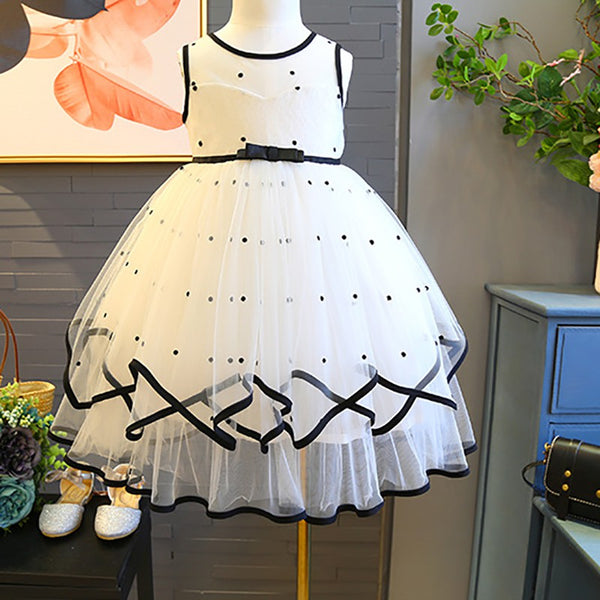 Girls Princess Dotted Tulle Lace Dress