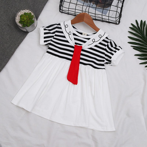 Girls Summer Navy Striped Casual Dress