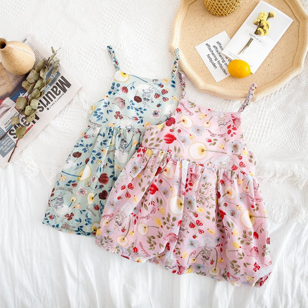 Girls Summer Bowknot Floral Sundress