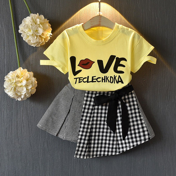Girls Letter Print Top and Casual Skirt Set