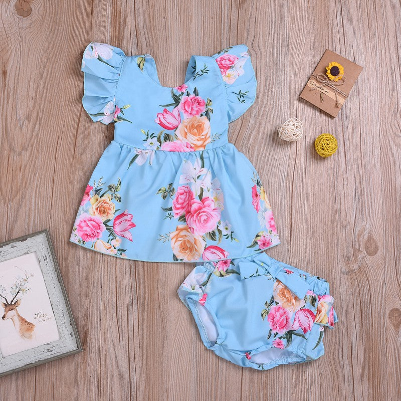 Girls Floral Ruffled Flutter-sleeve Top and Underwear Set