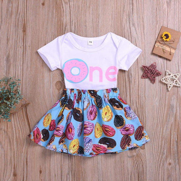 Girls Sweet Letter Print Top and Skirt Set