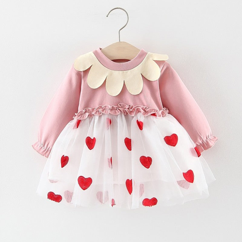 Girls Spring Autumn Petal Collar Long-Sleeved Sweet Dress