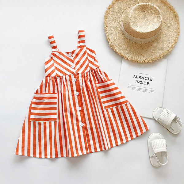 Girls Summer Striped Orange Strappy Dress