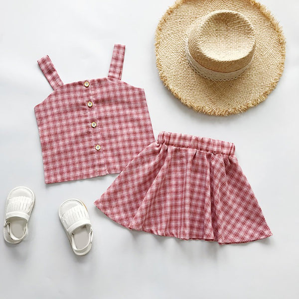 Girls Summer Gingham Tank Top and Skirt Set
