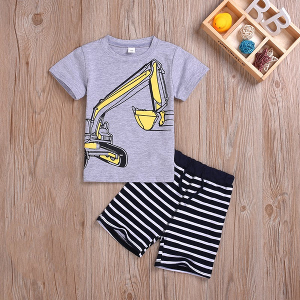 Boys Stylish Short-sleeve Tee and Striped Shorts Set