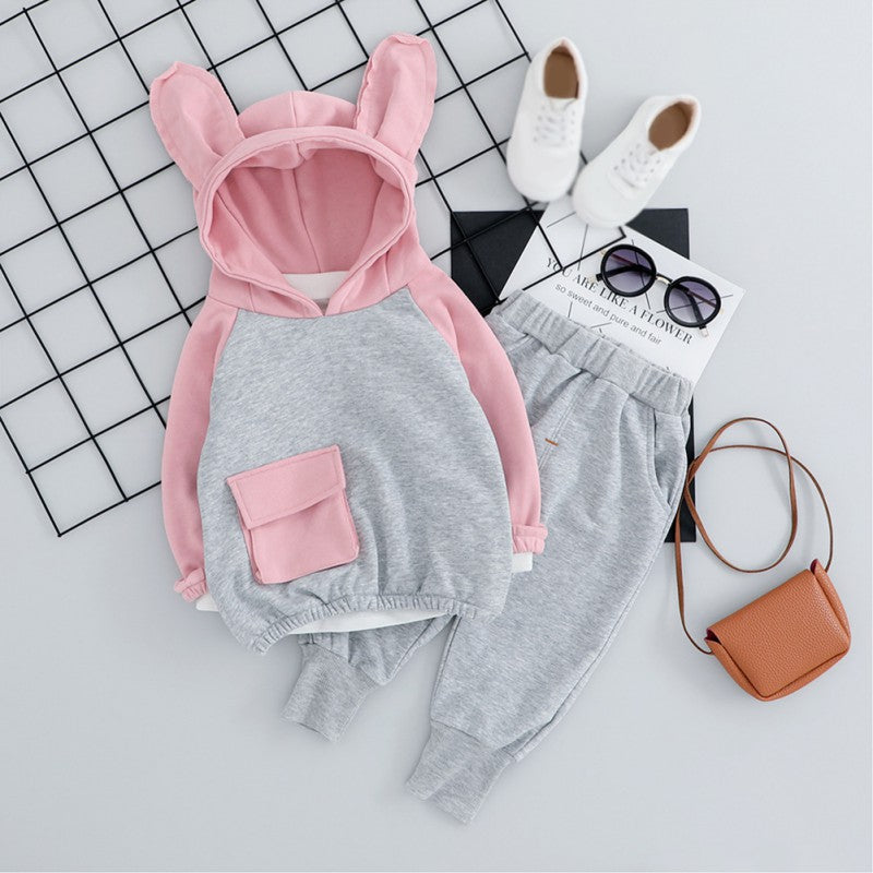 Girls Cute Rabbit Hooded Top and Pants Set