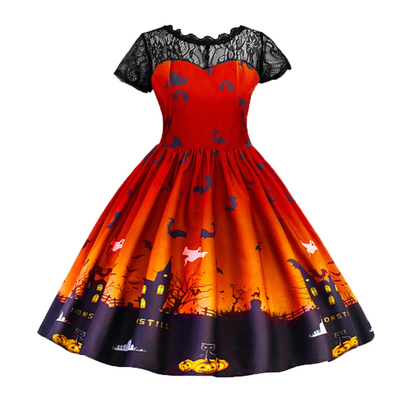 Girls Halloween Bat Printed Princess Dress