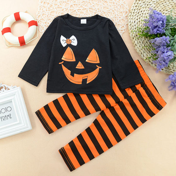 Kids Halloween Pumpkin Top and Striped Pants Set