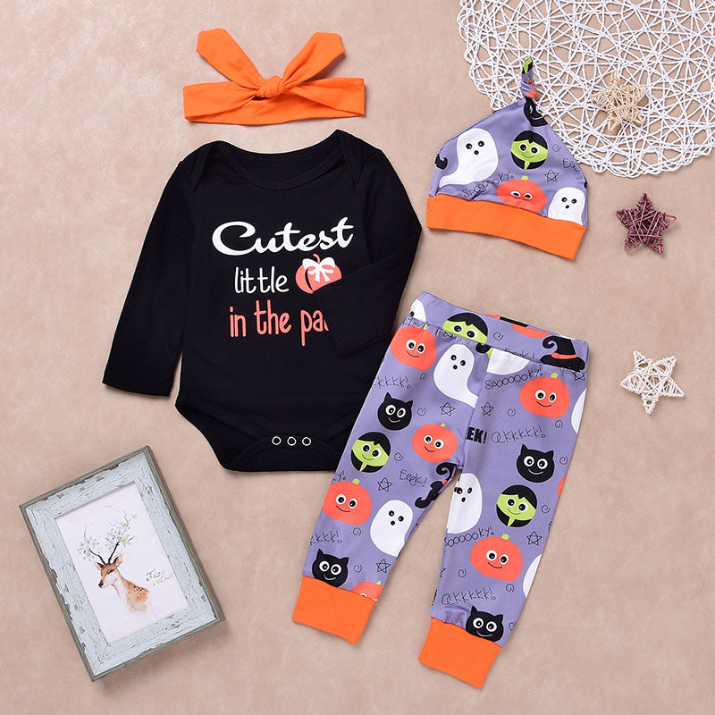 Kids Halloween Style Rompers and Pants with Hat and Headband Set