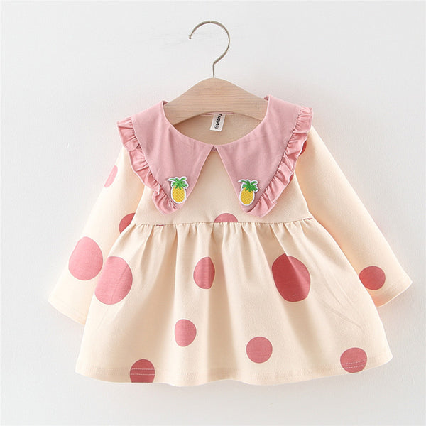 Girl Sweet Dotted Pineapple Long Sleeve Dress