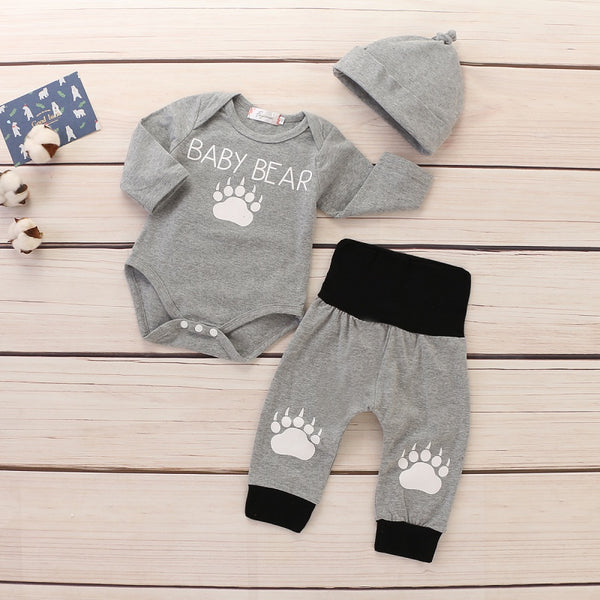Baby Cute Hoodie Rompers and Pants with hat Set