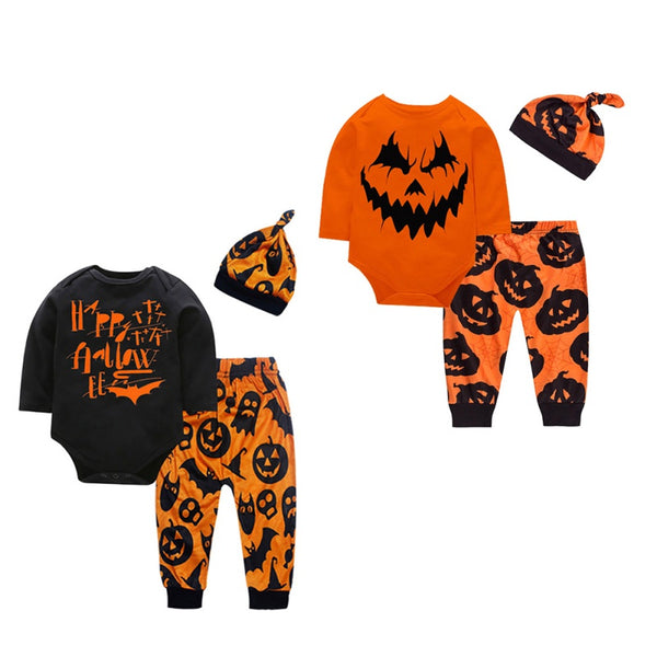 Halloween Pumpkin Rompers and Pants with Hat Sets