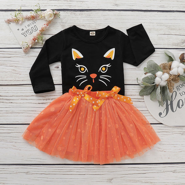 Halloween Cat Tops and Tulle Skirt Sets