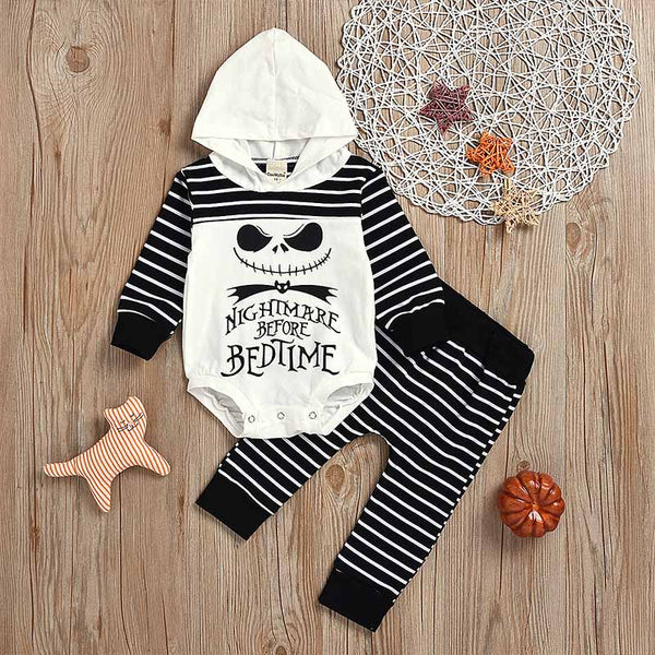 Halloween Hoodie Rompers and Striped Pants Sets