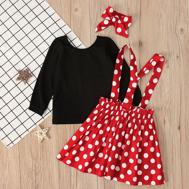 Girls Long Sleeves Tops and Dotted Suspender Sets