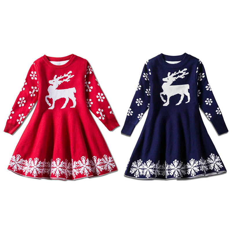 Christmas Style Deer Sweater Dress for Girls