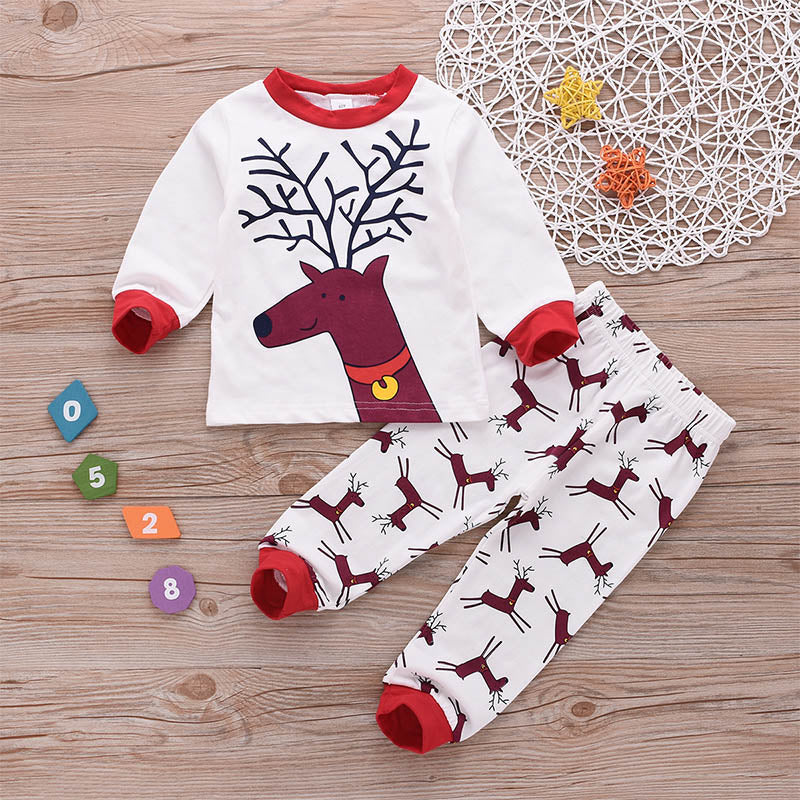 Christmas Deer Printing Tops and Pants Set