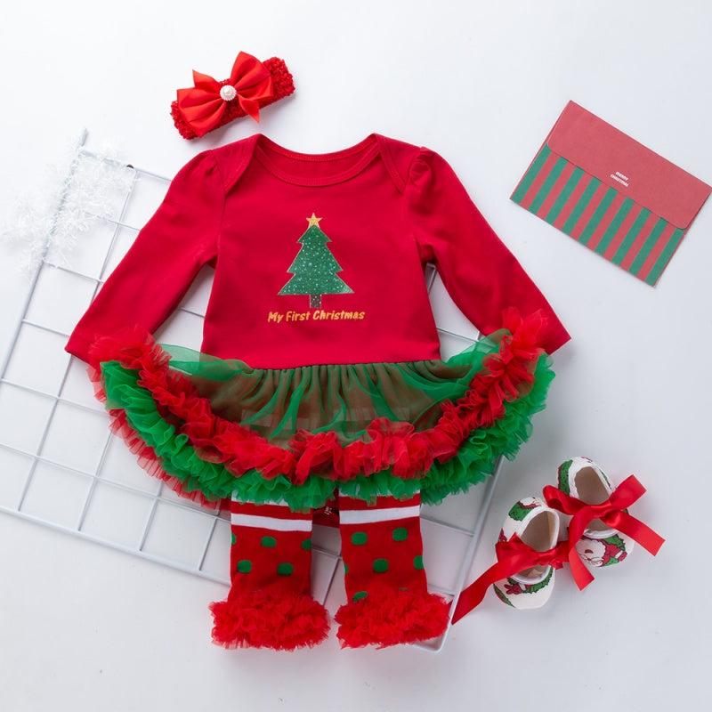 Christmas 4-piece Rompers Dress and Shoes with Knee Cap&Headband Set