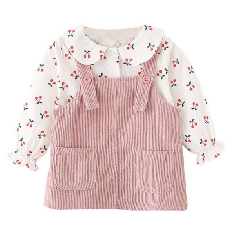 Baby Little Girl Autumn Cherry Comfy Overall Dress