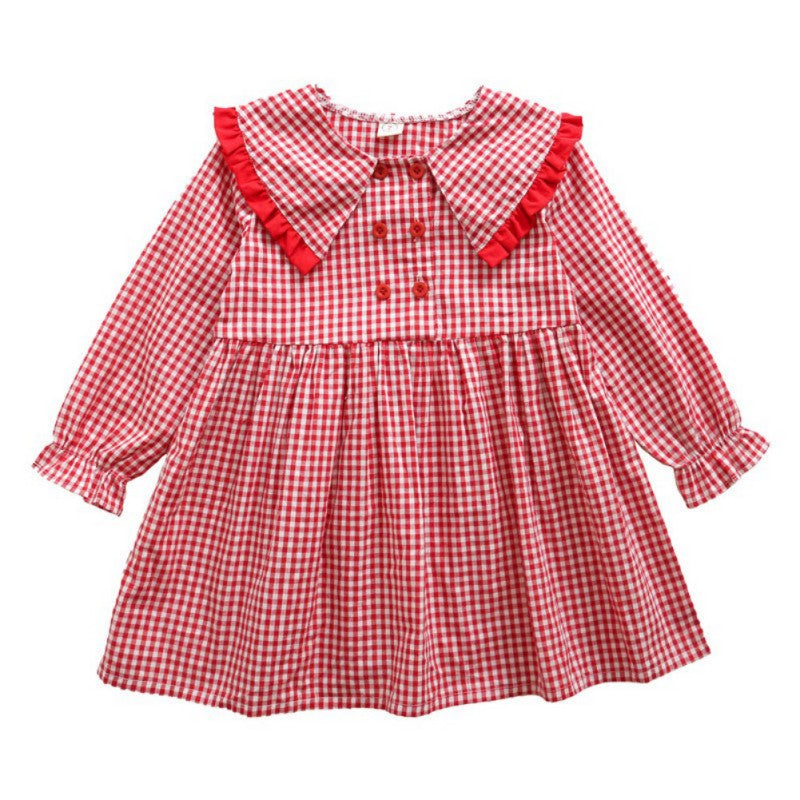 Baby Little Girl Autumn Plaid Lace Cute Dress
