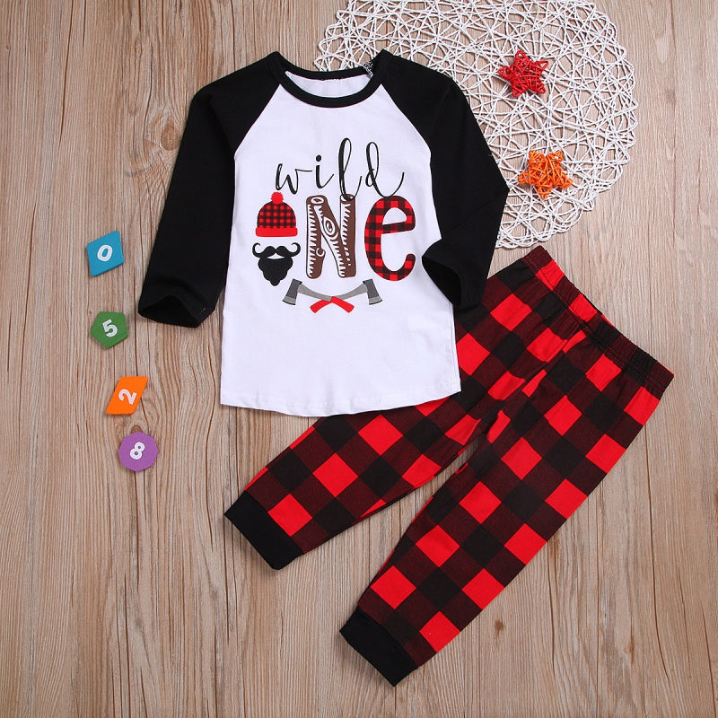 Christmas Letter Print Tops and Plaid Pants Set for Kids