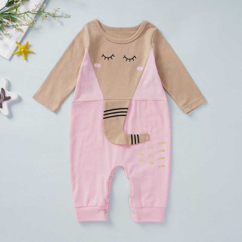 Baby Warm Elephant Print Cartoon Jumpsuit
