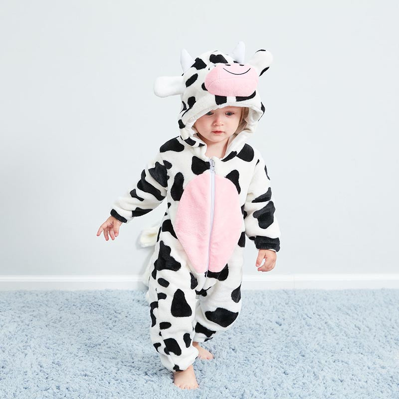 Baby Cute Cow Long-sleeved Warm Bodysuit