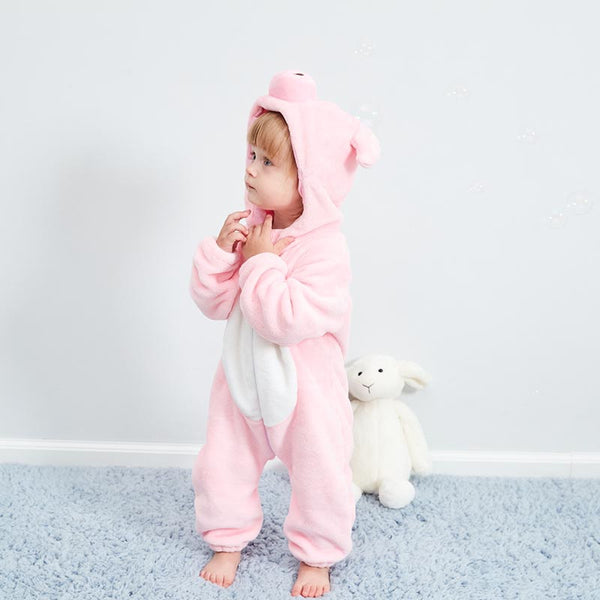Baby Pink Pig Long-sleeved Warm Bodysuit