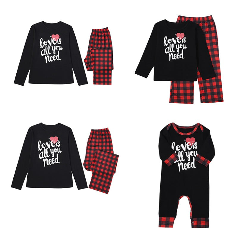 Christmas Letter Print Plaid Design Family Matching Pajamas
