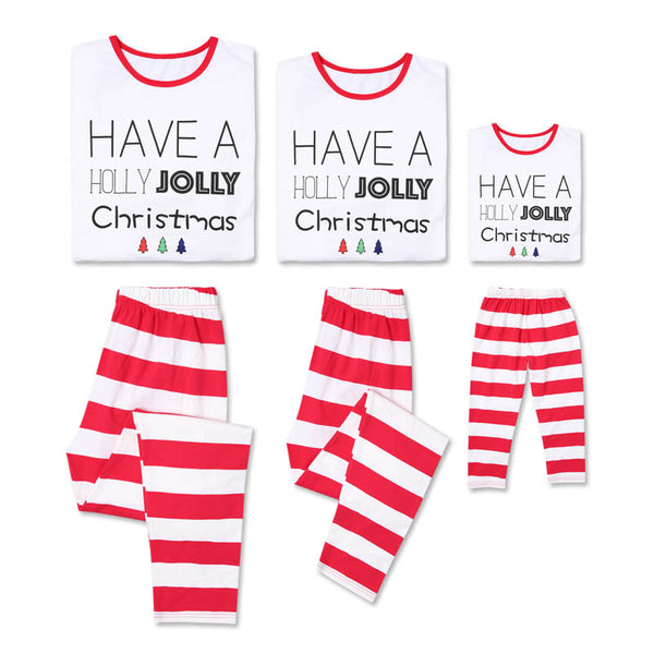 Christmas Letter Print Striped Family Matching Pajamas