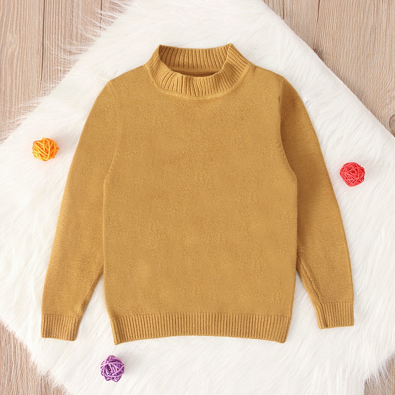 Comfortable All-match Long Sleeve Middle-neck Sweater
