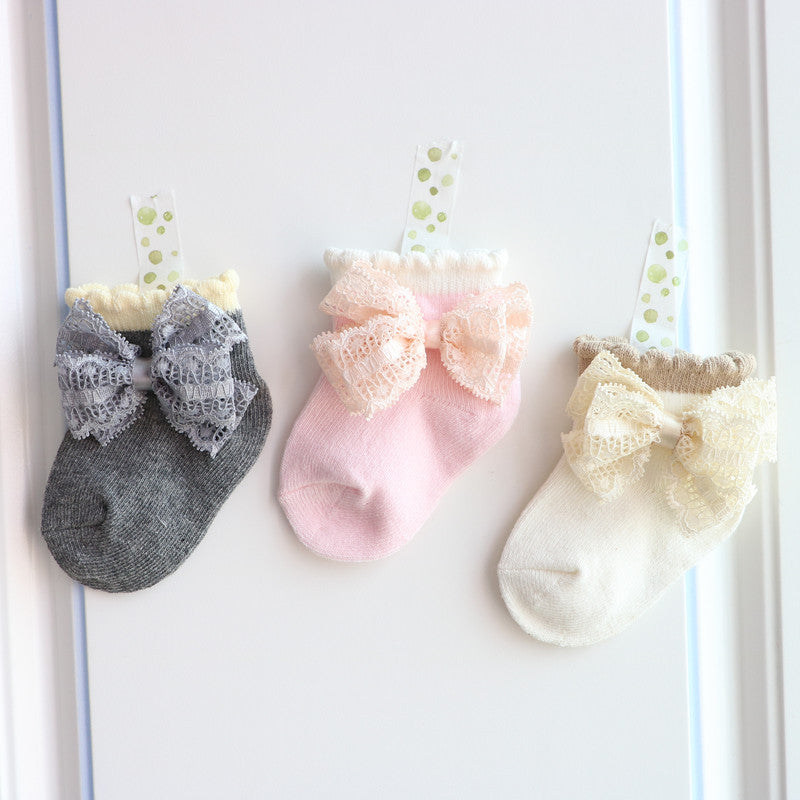 Newborn Baby Girl Cute Bowknot Design Lace Cotton Short Socks