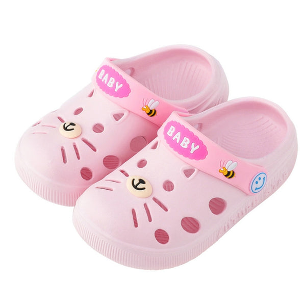 Summer Kid's Garden Cartoon Cat Closed-Toe Beach Slipper