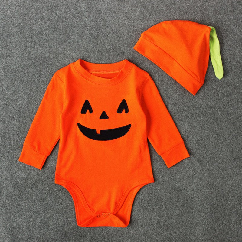 Baby Halloween Pumpkin Rompers with Hat