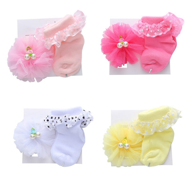 Newborn Baby Non-slip Pearl Cotton Socks And Headband Set