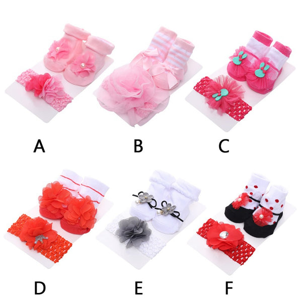 Newborn Baby Non-slip Mesh Cotton Socks And Headband Set